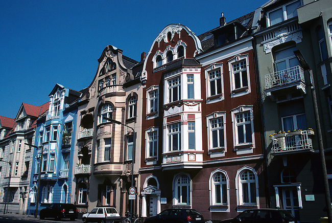 Old architectural styled houses in Dusseldorf, Germany.