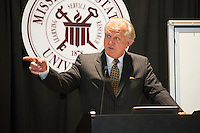 Former Mississippi State head football coach and 2016 Mississippi Sports Hall of Fame inductee Jackie Sherrill was among speakers at the 29th annual Insurance Day recently held at the Mill at MSU Conference Center. Organized by the College of Business and its risk management and insurance academic program, the continuing education program again attracted hundreds of insurance and other professionals for sessions focused on current industry issues. Sherrill spoke to the importance of having good leadership and teamwork on an athletic team, explaining that both qualities are just as important to apply in one's insurance business. Much to the enjoyment of the audience, Sherrill shared stories about past MSU football players and games during his address, for which he received a standing ovation.<br />