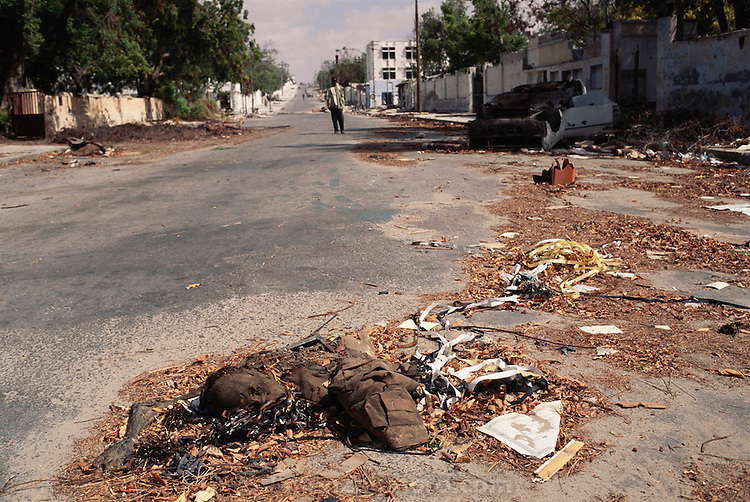 Decomposing body in the streets of Mogadishu, war-torn capital of Somalia, where 30,000 died between November 1991 and March 1992.