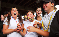 As an announcer states that Burlington-Edison won second place as a team in the 2A State Girls' Golf Championship, members of the Sehome team, from left, Kinsey Butler, Tate Head and Karly Olsen scream as they realize that they have placed first at Homestead Farms Golf Resort in Lynden on May 21, 2008. This is the first time Sehome High School has won the golf title and the first time since 2001 that Bellingham High School has not.