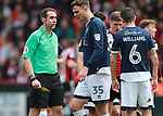Referee David Coote issues another yellow card during the championship match at the Bramall Lane Stadium, Sheffield. Picture date 14th April 2018. Picture credit should read: Simon Bellis/Sportimage