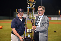 Elizabethton Twins general manager Mike Mains and team chaplain Harold Mains pose with championship trophy after winning the Appalachian League Championship Series against the Princeton Rays 2-1 at Joe O'Brien Field on September 5, 2018 in Elizabethton, Tennessee. (Tony Farlow/Four Seam Images)