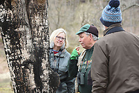 NWA Democrat-Gazette/FLIP PUTTHOFF <br /> Joe Neal tastes sap from a      Feb. 16 2019     sugar maple tree. Yellow-bellied sap suckers drill holes in the trees and return later to feed on sap. The sap also traps insects that the birds eat.