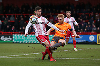 Tom Pett of Stevenage and Paul McShane of Reading during Stevenage vs Reading, Emirates FA Cup Football at the Lamex Stadium on 6th January 2018