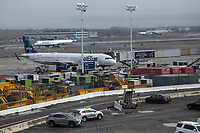 NEW YORK, NY - MARCH 13: Two JetBlue planessit at the John F. Kennedy Airport in New York on March 13, 2020. in New York City. President Donald Trump cancels all flights between Europe and the United States this Friday, due to the expansion of the Covic-19. 118,000 cases of coronavirus exist worldwide and more than 4,000 deaths go so far according to the WHO. (Photo by Pablo Monsalve / VIEWpress via Getty Images)