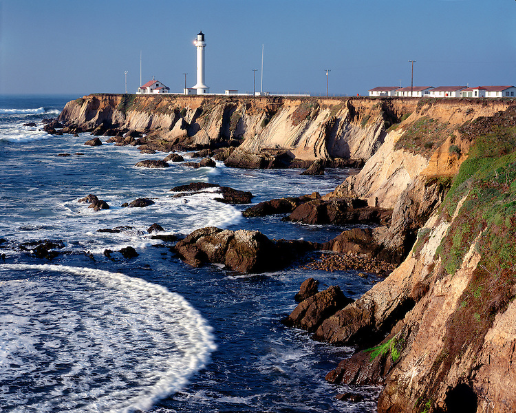 The Point Arena Lighthouse on the shore of the Pacific Ocean on Highway 1, CA