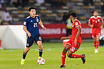 Doan Ritsu of Japan (L) is tackled by Harib Al Saadi of Oman (R) during the AFC Asian Cup UAE 2019 Group F match between Oman (OMA) and Japan (JPN) at Zayed Sports City Stadium on 13 January 2019 in Abu Dhabi, United Arab Emirates. Photo by Marcio Rodrigo Machado / Power Sport Images