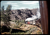 D&amp;RGW #361 C-21 with excursion train in Heirrio Canyon (Black Canyon area)<br /> D&amp;RGW  Heirro Canyon/Black Canyon, CO  Taken by Maxwell, John W. - 9/7/1947