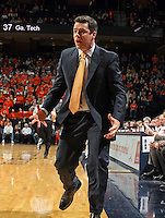 Virginia Head coach Tony Bennett reacts to a call during an ACC college basketball game against Georgia Tech Wednesday Jan. 13, 2010 in Charlottesville, Va.  (Photo/Andrew Shurtleff)