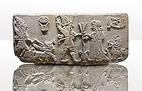 "Photo of Neo-Hittite orthostat from Karkamis, Turkey. Museum of Anatolian Civilisations, Ankara.  The meeting of the ""Storm God"" on right and a King on the left. 4"