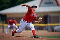 Batavia Muckdogs starting pitcher Bryce Howe (52) delivers a pitch during a game against the Lowell Spinners on July 15, 2018 at Dwyer Stadium in Batavia, New York.  Lowell defeated Batavia 6-2.  (Mike Janes/Four Seam Images)