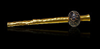 Bronze Age Hattian gold decorated mace from Grave K,  possibly a Bronze Age Royal grave (2500 BC to 2250 BC) - Alacahoyuk - Museum of Anatolian Civilisations, Ankara, Turkey. Against a black background