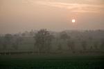 Sunset over River Deben valley, Easton, Suffolk, England