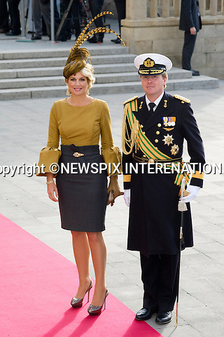 """CROWN PRINCE WILLEM-ALEXANDER AND CROWN PRINCESS MAXIMA OF HOLLAND.Wedding of HRH the Hereditary Grand Duke and Countess Stéphanie de Lannoy.Religious Ceremony at Cathedral of Our lady of Luxembourg, Luxembourg_20-10-2012.Mandatory credit photo: ©Dias/NEWSPIX INTERNATIONAL..(Failure to credit will incur a surcharge of 100% of reproduction fees)..                **ALL FEES PAYABLE TO: """"NEWSPIX INTERNATIONAL""""**..IMMEDIATE CONFIRMATION OF USAGE REQUIRED:.Newspix International, 31 Chinnery Hill, Bishop's Stortford, ENGLAND CM23 3PS.Tel:+441279 324672  ; Fax: +441279656877.Mobile:  07775681153.e-mail: info@newspixinternational.co.uk"""