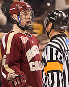 Steven Santini (BC - 6) and Scott Hansen have a chat. - The Boston College Eagles defeated the Boston University Terriers 3-1 (EN) in their opening round game of the 2014 Beanpot on Monday, February 3, 2014, at TD Garden in Boston, Massachusetts.