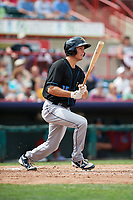 Akron RubberDucks second baseman Tyler Krieger (15) hits a double during a game against the Erie SeaWolves on August 27, 2017 at UPMC Park in Erie, Pennsylvania.  Akron defeated Erie 6-4.  (Mike Janes/Four Seam Images)