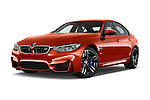 Stock pictures of low aggressive front three quarter view of a 2015 BMW M3 4 Door Sedan Low Aggressive