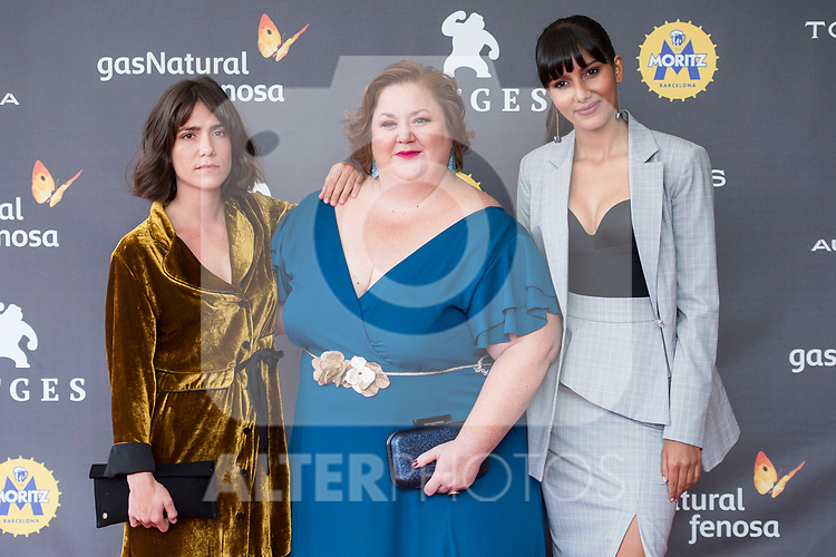 Bruna Cusi, Itiziar Castro and Mariam Bachir attends to 'Blood Red Carpet' at Sitges Film Festival in Barcelona, Spain October 11, 2017. (ALTERPHOTOS/Borja B.Hojas)