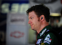Oct. 30, 2009; Talladega, AL, USA; NASCAR Sprint Cup Series driver Dale Earnhardt Jr during practice for the Amp Energy 500 at the Talladega Superspeedway. Mandatory Credit: Mark J. Rebilas-