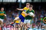 Donal O'Sullivan Kerry in action against Joe Miniter Clare in the Munster Minor Football Final at Fitzgerald Stadium on Sunday.