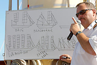 Captain Oleg giving a lecture about sailing basics to interested passengers aboard Star Clipper.