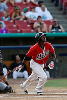 Alfredo Morales #26 of the High Desert Mavericks bats against the Modesto Nuts at Stater Bros. Stadium on June 29, 2013 in Adelanto, California. Modesto defeated High Desert, 7-2. (Larry Goren/Four Seam Images)