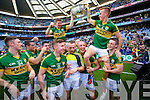 . Kerry players celebrate their victory over Donegal in the All Ireland Senior Football Final in Croke Park Dublin on Sunday 21st September 2014.