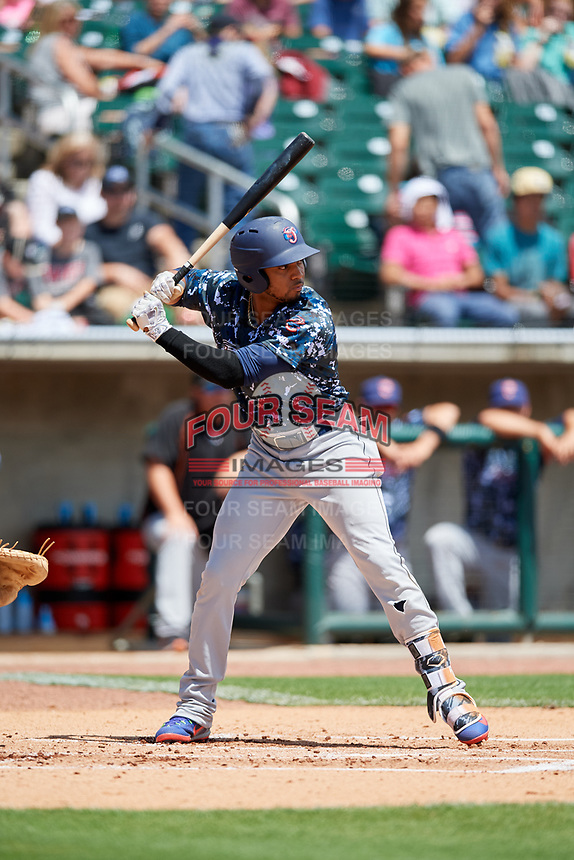 Jacksonville Jumbo Shrimp designated hitter John Norwood (22) at bat during a game against the Birmingham Barons on April 24, 2017 at Regions Field in Birmingham, Alabama.  Jacksonville defeated Birmingham 4-1.  (Mike Janes/Four Seam Images)