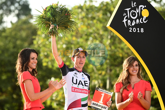 Dan Martin (IRL) UAE Team Emirates wins the Super Combative Award, on the podium at the end of Stage 21 of the 2018 Tour de France running 116km from Houilles to Paris Champs-Elysees, France. 29th July 2018. <br /> Picture: ASO/Alex Broadway | Cyclefile<br /> All photos usage must carry mandatory copyright credit (© Cyclefile | ASO/Alex Broadway)