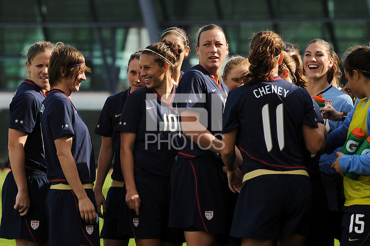 The team shares a light moment before the start of the game. The USWNT defeated Iceland (2-0) at Vila Real Sto. Antonio in their opener of the 2010 Algarve Cup on February 24, 2010.