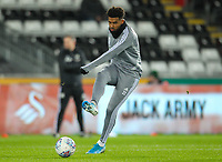 29th November 2019; Liberty Stadium, Swansea, Glamorgan, Wales; English Football League Championship, Swansea City versus Fulham; Cyrus Christie of Fulham warms up before the match  - Strictly Editorial Use Only. No use with unauthorized audio, video, data, fixture lists, club/league logos or 'live' services. Online in-match use limited to 120 images, no video emulation. No use in betting, games or single club/league/player publications