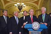 United States Senate Majority Leader Mitch McConnell (Republican of Kentucky) meets reporters in the US Capitol following the Senate Policy luncheons in the US Capitol in Washington, DC, April 19, 2016.  From left to right: United States Senator Roy Blunt (Republican of Missouri); US Senator Roger Wicker (Republican of Mississippi); US Senator John Barrasso (Republican of Wyoming); Leader McConnell; and United States Senator John Cornyn (Republican of Texas).<br /> Credit: Ron Sachs / CNP