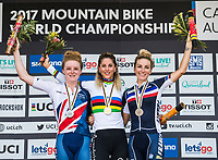 Picture by Alex Broadway/SWpix.com - 09/09/17 - Cycling - UCI 2017 Mountain Bike World Championships - XCO - Cairns, Australia - Annie Last of Great Britain, Jolanda Neff of Switzerland and Pauline Ferrand-Prévot of France on the podium after the Women's Elite Cross Country Final.