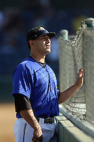 August 9 2009: Hector Estrella of the Rancho Cucamonga Quakes before game against the San Jose Giants at The Epicenter in Rancho Cucamonga,CA.  Photo by Larry Goren/Four Seam Images