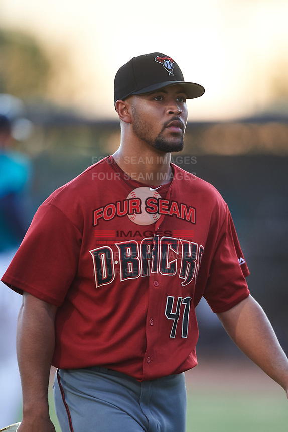 AZL D-backs relief pitcher Brennan Malone (41) walks off the field between innings of an Arizona League game against the AZL Mariners on August 7, 2019 at Peoria Sports Complex in Peoria, Arizona. AZL D-backs defeated the AZL Mariners 4-1. (Zachary Lucy/Four Seam Images)