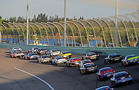 Nov. 15, 2008; Homestead, FL, USA; NASCAR Nationwide Series driver head off of turn two prior to the Ford 300 at Homestead Miami Speedway. Mandatory Credit: Mark J. Rebilas-