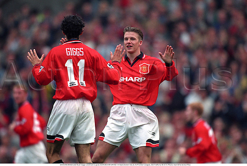 DAVID BECKHAM and Ryan Giggs celebrate a goal, MANCHESTER UNITED 1 V Manchester City 0, FA Premier League, Old Trafford, 951014. Photo: Glyn Kirk/Action Plus ...1995.Football Soccer.Footballer footballers.Man Utd.celebrates celebration celebrations celebrating joy