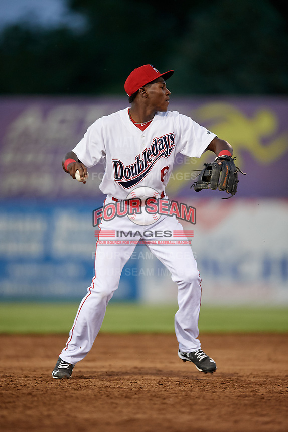 Auburn Doubledays third baseman Juan Pascal (6) throws to first base during a game against the Batavia Muckdogs on June 15, 2018 at Falcon Park in Auburn, New York.  Auburn defeated Batavia 5-1.  (Mike Janes/Four Seam Images)