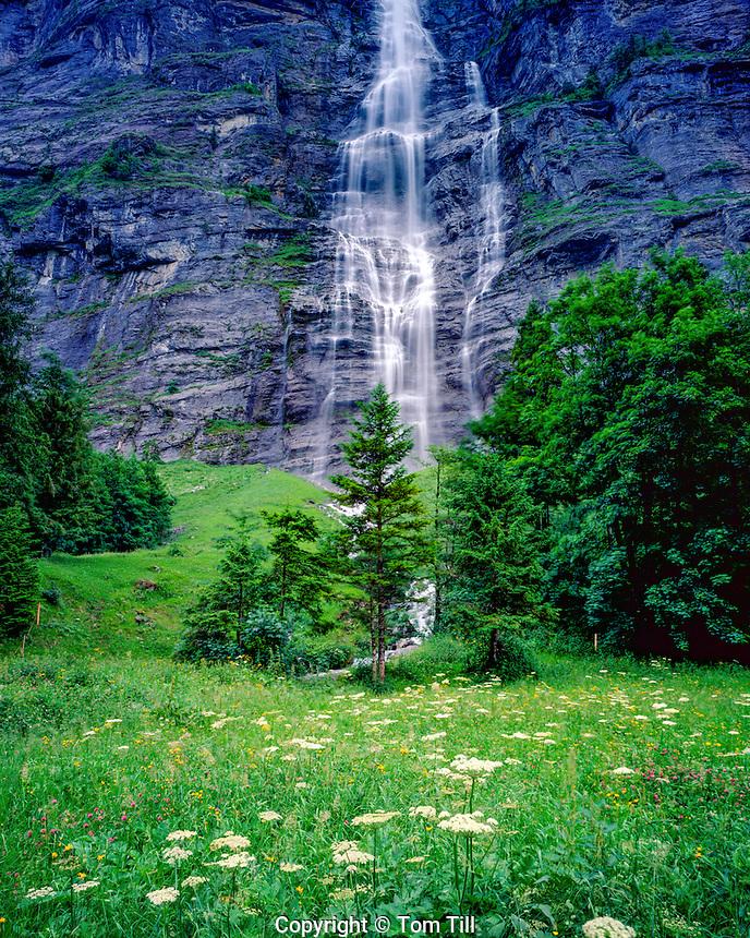Staubbachfalle Waterfall, Lauterbrunnen Valley, Switzerland, Berner Oberland Region, 1,000 foot waterfall