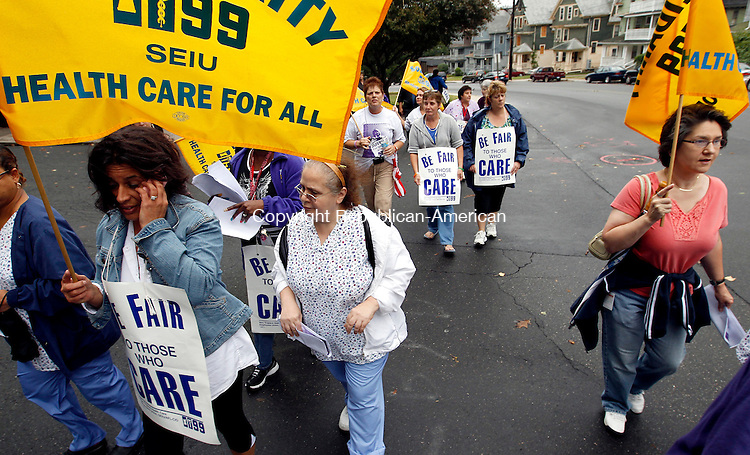 Waterbury, CT- 30, September 2010-093010CM02  Waterbury Hospital employees and members of the 1199NE Union picket outside Waterbury Hospital Thursday afternoon. They were voicing their concerns over staffing shortages, broken equipment and inadequate linen.   Christopher Massa Republican-American
