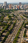 Aerial of Portland, Oregon with cars on Interstate 5