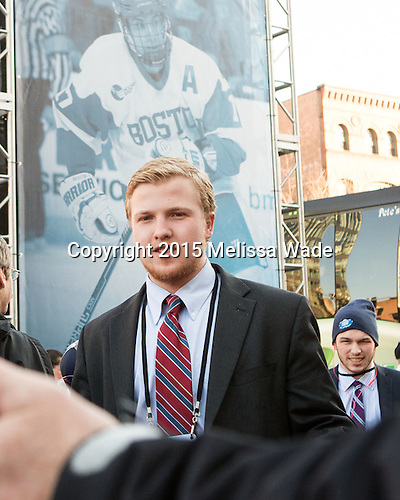 Tommy Kelley (BU  22), Danny O'Regan (BU - 10) - The teams walked the red carpet through the Fan Fest outside TD Garden prior to the Frozen Four final on Saturday, April 11, 2015, in Boston, Massachusetts.