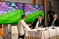 GRONINGEN , Voetbal, presentatie Tim Handwerker FC Groningen, seizoen 2018-2019, 14-08-2018, Ron Jans, Hans Nijlans en Tim Handwerker kijken naar de beelden