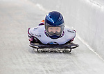 8 January 2016: Takako Oguchi, competing for Japan, crosses the finish line on her first run of the BMW IBSF World Cup Skeleton race at the Olympic Sports Track in Lake Placid, New York, USA. Mandatory Credit: Ed Wolfstein Photo *** RAW (NEF) Image File Available ***