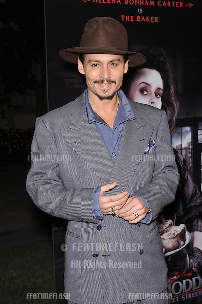 "Johnny Depp at industry screening of his movie ""Sweeney Todd the Demon Barber of Fleet Street"" at Paramount Studios, Hollywood..December 5, 2007  Los Angeles, CA.Picture: Paul Smith / Featureflash"
