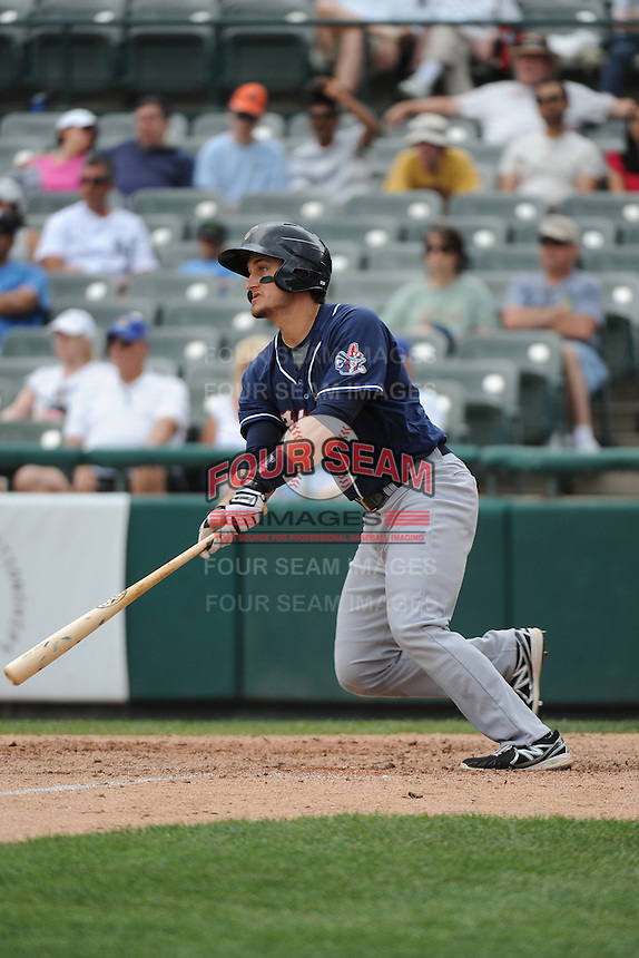 New Hampshire Fisher Cats infielder Kevin Nolan (23) during game against the Trenton Thunder at ARM & HAMMER Park on June 22, 2014 in Trenton, NJ.  New Hampshire defeated Trenton 7-2.  (Tomasso DeRosa/Four Seam Images)