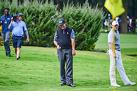 Phil Mickelson (USA) reacts to realizing that he chipped on 6 before Louis Oosthuizen (ZAF) hit from the drop area during round 2 of the World Golf Championships, Mexico, Club De Golf Chapultepec, Mexico City, Mexico. 3/3/2017.<br /> Picture: Golffile | Ken Murray<br /> <br /> <br /> All photo usage must carry mandatory copyright credit (&copy; Golffile | Ken Murray)