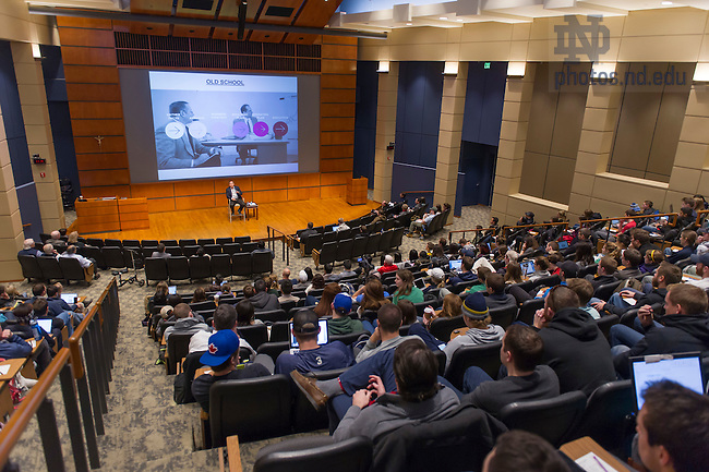 Dec. 4, 2015; Glenn Murphy, former chair & CEO of Gap, Inc., speaks in Mendoza College of Business Jordan Auditorium as part of the Boardroom Insights lecture series. (Photo by Barbara Johnston/University of Notre Dame)