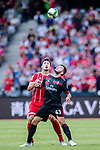 AC Milan Forward Patrick Cutrone (R) fights for the ball with Bayern Munich Defender Mats Hummels (L) during the 2017 International Champions Cup China  match between FC Bayern and AC Milan at Universiade Sports Centre Stadium on July 22, 2017 in Shenzhen, China. Photo by Marcio Rodrigo Machado / Power Sport Images