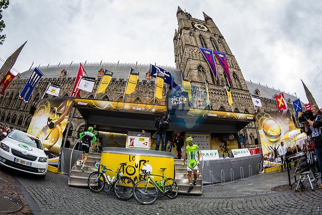 Start Podium in Ieper, Ypres, Belgium, Tour de France, Stage 5: Ypres > Arenberg Porte du Hainaut, UCI WorldTour, 2.UWT, Wallers, France, 9th July 2014, Photo by Thomas van Bracht / Peloton Photos